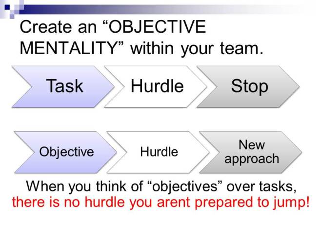 objectives over tasks